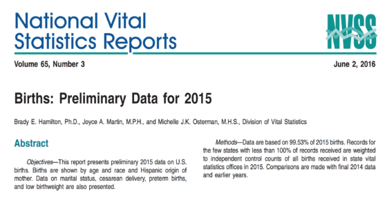 Birth: Preliminary Data 2015 is available! (Click here)