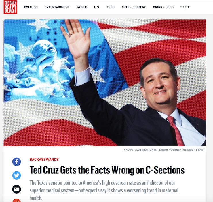 "Gene quoted in the Daily Beast, ""Ted Cruz Gets the Facts Wrong on C-Sections!"""